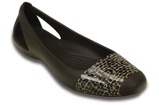 WOMEN'S SHOES CROCS SIENNA LEOPARD SHINY 203451 ESPRESSO
